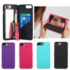 For Apple iPhone 7 Mirror Hard Case Cover  Wallet Card Holder Stand 4.7''