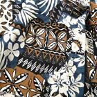 Hawaiian Tapa Print Cotton Fabric Blue Brown Black Ivory, Aloha Shirts, Muu Muus
