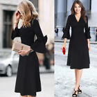 Womens Elegant 3/4 Bell Sleeve V Neck Bow Work Party Fit and Flare A Line Dress