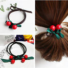 Lovely Red Cherry Green Ribbon Hair Ring Elastic Hair Rope Hair Accessories