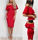New Ex River Island Red Bardot Frill Party Evening Midi Dress 6-18UK  RRP £35