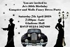 Personalised Gangster and Molls - Flapper Birthday Party Invitations Fancy Dress
