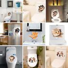 3d Cute Cat Dog Toilet Lid Cover Wall Sticker Decal Tattoo Bathroom Home Decor