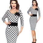 Womens Vintage Polkat Dot Pinup Work Cocktail Party Bodycon Wiggle Pencil Dress