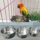 Food Water Feeding Bird Cups With Clamp Stainless Steel Parrot Cage Stand Holder
