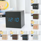 Modern Wooden USB/AAA Digital LED Alarm Clock Calendar Thermometer DC 5V/1A New