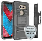 For LG V30 Heavy Duty Armor Case Cover w/ Belt Clip Holster & Tempered Glass