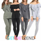 Womens Off Shoulder Top Ladies Frill Track Suit Casual Loungewear Night Bottoms