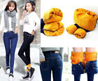 Women Winter Thick Thermal Warm Fleece Nap Jeans High Waist Trousers Slim Pants