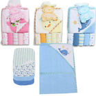 6pc LIL' MIMOS BABY TERRY BATH HOODED TOWEL + WASHCLOTHS CHICK OWL WHALE GIRLS