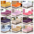 Solid Fitted Sheets King/Queen/Double/Single Size Bed Pillowcases Set 14 Colors