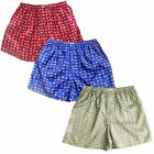 Mens Thai Silk Elephant Boxer Shorts / 3 Pairs Red, Blue, Gray Boxers Underwear