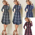 Womens Elegant Patchwork Printed Pockets Casual Work Business Flare A Line Dress