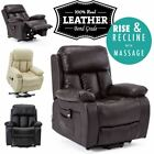 CHESTER ELECTRIC RISE LEATHER RECLINER POWER ARMCHAIR HEATED MASSAGE SOFA CHAIR