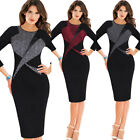 Womens Vintage 3/4 Sleeve Color-Block Patchwork Business Work Party Pencil Dress