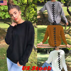womens crew neck jumpers - US New Womens Warm Long Sleeve Crew Neck Top Pullover Sweater Jumper Sweatshirt