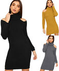 Womens Cable Knit Long Sleeve Polo Neck Cold Shoulder Ladies Jumper Mini Dress