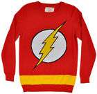 The Flash Comic Logo Knitted Pullover Sweater Mens Red