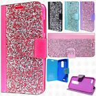 For LG Stylo 3 Premium Bling Diamond Wallet Flip Pouch Cover +Screen Protector