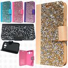 Samsung Galaxy On5 Premium Bling Diamond Wallet Flip Pouch Cover +Screen Guard