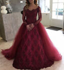 New Arrival Burgundy Evening Dress Lace Long Sleeve Formal Prom Bridal Gown