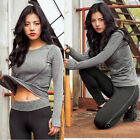 Women Long Sleeve Fitness Gym Yoga Running T Shirt Quick-Dry Active Sports Tops