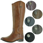 Frye Melissa Button Women's Pull-On Leather Riding Boots Wide Calf Avail