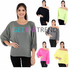 Womens Off Shoulder Batwing Top Ladies Jumper Jersey Casual Loose Baggy T Shirt
