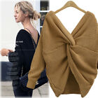 Elegant Women Warm Knitted V-Neck Long Sleeve Pullover Loose Jumpers Sweater