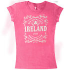 Womens Ireland Graphic Printed T-Shirt Short Sleeve Top Classic Cotton Crew Neck