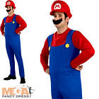 Super Mario Bros Mens Fancy Dress Video Game Nintendo SNES Adults Costume Outfit