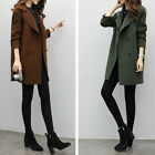 ladies Fashion Warm Winter Women Lapel Collar Long Slim Woolen Outwear Overcoat