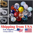 (US Shipping) 3/4/6/8/10/12mm Rondelle Faceted Crystal Glass Loose Spacer Beads