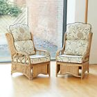 2 Penang Cane Conservatory Furniture Armchairs with High Back Luxury Cushions
