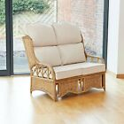Penang 2 Seater Cane and Woven Sea Grass Conservatory Sofa - High Back Cushions