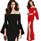 Womens Sexy Bell Sleeve Off Shoulder High Split Evening Party Maxi Long Dress