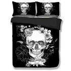 Black Skull Duvet Cover Pillowcases Set Twin/Queen/King Size Bed New Floral