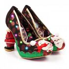 NEW IRREGULAR CHOICE *MR & MRS CLAUSE* RED/BLACK/GREEN CHRISTMAS LIGHT UP HEELS