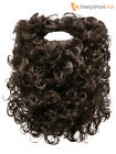 Adults Beard Fancy Dress Accessory Mens Ladies Curly Black Brown Facial Hair