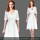 Womens Sexy Elegant Half Sleeve Casual Work Office Faux Wrap Flare A Line Dress