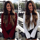 Casual Lady O-neck Long Sleeve Loose Striped Knitted Sweater Tops Jumper Warm