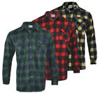 Mens Polar Brushed Fleece Shirt Lumberjack Work Check Warm M - 3XL