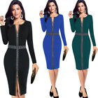 Womens Elegant Front Zip Up Contrast Work Business Cocktail Party Sheath Dress
