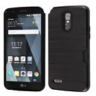 For LG Stylo 3 Brushed Hybrid Card Case Phone Cover Accessory +Screen Protector