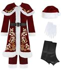 Mens Teen Crimson Santa Claus Father Christmas Fancy Dress Costume Outfit XS-XL