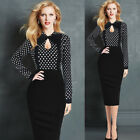 Women Retro Keyhole Bow Contrast Pocket Work Office Party One-Piece Sheath Dress