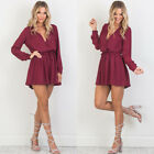Women Long Sleeve V-Neck Playsuit Ladies Bodycon Party Jumpsuit Romper Trousers
