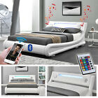 LED Memphis Reloaded Weiss Bluetooth Doppelbett Polsterbett Bett Lattenrost