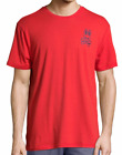 Psycho Bunny Men's Brilliant Red Cotton Blend Crew-Neck Short Sleeve T-Shirt