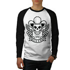 Western Cowboy Skull Guns Men Baseball Ls T-shirt S-2xl New | Wellcoda